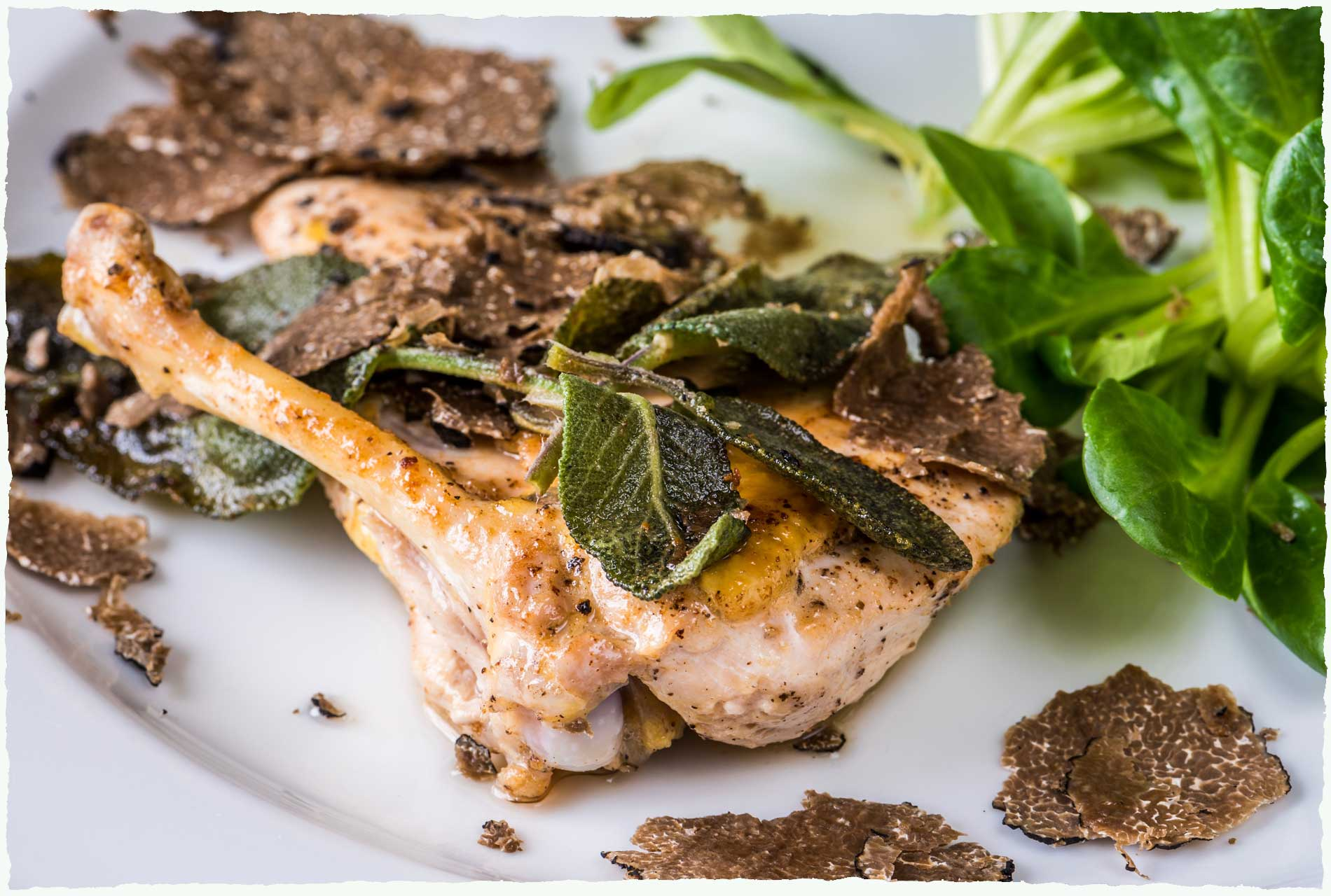 Guinea Fowl, nettles and truffles
